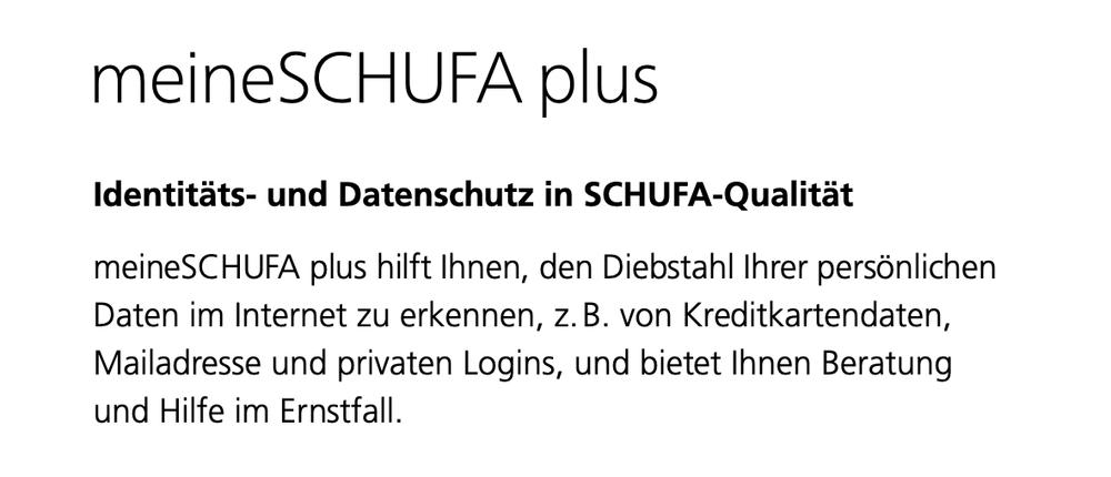 SCHUFA Auskunft - meineSCHUFA plus Paket
