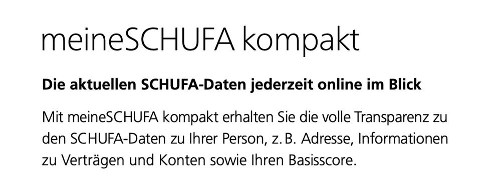SCHUFA Auskunft - meineSCHUFA kompakt Paket