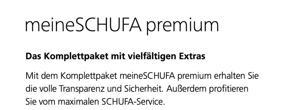 SCHUFA Auskunft - meineSCHUFA premium Paket